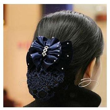 New Charm Fashion Satin Lady Bow Rhinestone Barrette Hair Clip Cover Bowknot Net Bun Snood