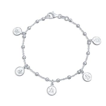 Angels Cherubs Dangle Round Disc Multi Charm Bracelet Sterling Silver