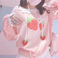 Strawberry Pattern Loose Pink Sweatshirts For Kawaii Girl Long Sleeve Lace Trim Decoration Cute Pullover Lolita Autumn