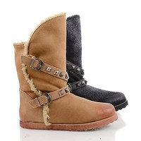 Gazith1 Pull Up Studded Mid Calf Winter Boots