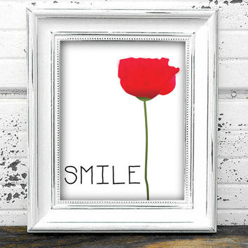 "Digital File ""Smile"" Pink Poppy 8x10 Print-Home Decor-Kitchen-Office-Printable Wall Art-Typography-Floral"