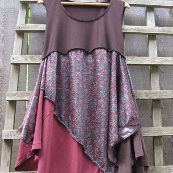 Paisley Tunic Shirt Lagenlook Upcycled/ Funky Brown Maroon Green Asymmetrical Eco Blouse/ Hi Lo Womens Tops Size M