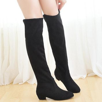 Spring Autumn Slip On Over The Knee Boots Fashion Women Thigh High Suede Boots Ladies