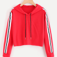 Contrast Striped Drawstring HoodieFor Women-romwe