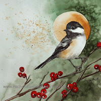 8 Bird Christmas CARDS Chickadee Bird art by rachellelevingston