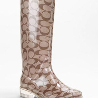 2012 COACH PIXY CLASSIC SIGNATURE LOGO TALL RUBBER RAIN BOOTS BLACK BROWN A7484