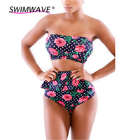 Slim Floral High Waist Triangle Bottom Push Up Strapless Tube Top Falbala Sexy Bikini Beach Swimwear Women Swimsuit Bathing Suit