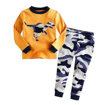 Camo Dino Cartoon Sleepwear Suit Set kids long-sleeved with pants (2-piece) baby clothes