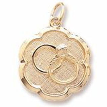 Wedding Rings Disc Charm In Yellow Gold