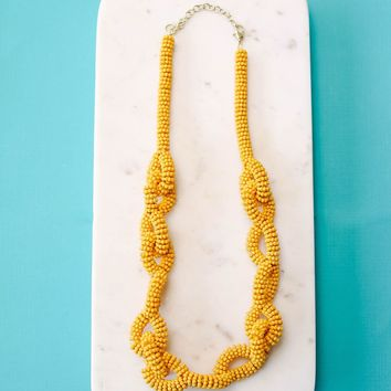 Twist + Shout Beaded Link Necklace - Mustard