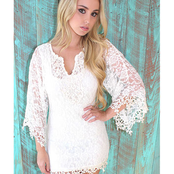 Womens Goddess Crochet Beach Dress - Beige