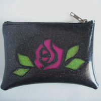 Coin purse black metalflake vinyl with magenta rose and lime green leaves