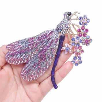 Bella Fashion Luxury Enamel Dragonfly Flower Brooch Pins Austrian Crystal Rhinestone Animal Brooches For Party Jewelry