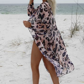 The Dive Sheer Abstract Leopard Kimono