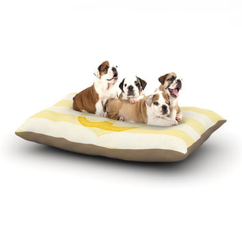 "Monika Strigel ""Stone Vintage Anchor Yellow"" Mustard White Dog Bed"