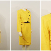 Vintage Dress and Jacket 60s Mad Men Yellow and Black Buttons Knitwear Modern Size Medium