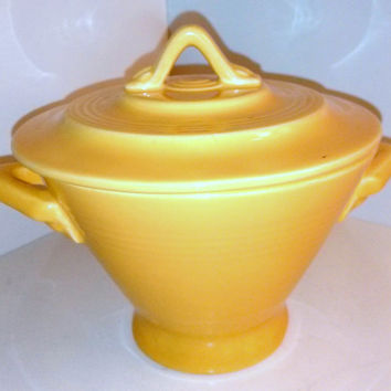 1930's Homer Laughlin Harlequin Covered Sugar Bowl  Vintage Art Deco Yellow Sugar Dish Yellow Harlequin Sugar Bowl