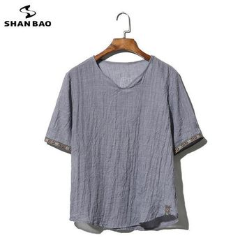 ONETOW SHAO BAO brand clothing cotton and linen short-sleeved T-shirt men's 2017 summer thin paragraph loose t-shirt large size M-5XL