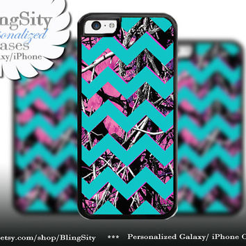 Camo Aqua Chevron iPhone 5C 6 6 Plus Case Hot Pink Purple Monogram iPhone 5s iPhone 4 Real Tree Personalized Country Inspired Girl