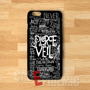 PTV black collage lyric art-1n1 for iPhone 6S case, iPhone 5s case, iPhone 6 case, iPhone 4S, Samsung S6 Edge