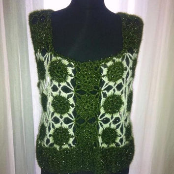 Hand Crochet Womens Top Blouse in Shimmery Green and Ivory Colors Fall Winter Fashion Clothing Gift Ideas