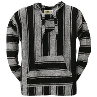 Old Glory - Mens Stripe Woven Baja Hoodie - X-large Black