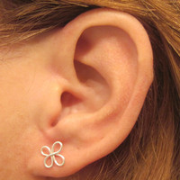 1 Pair Sterling Handmade Ear Lobe or Cartilage Piercing Earrings Clover 2 Earrings Helix Nose