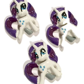 White & purple pony unicorn resin cabochon 27x27mm / 1-5 pieces