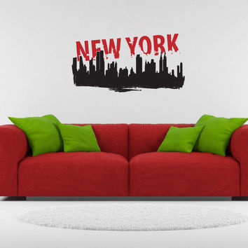 New York City Skyline Vinyl Wall Words Decal Sticker Graphic