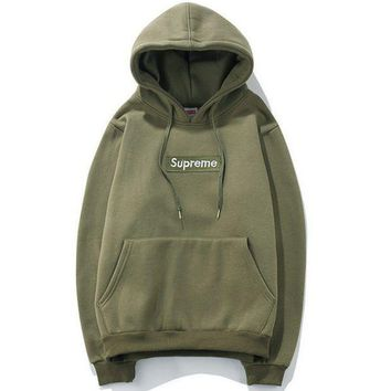 VXL8HQ Supreme' Couple Casual Letter Print Velvet Long Sleeve hooded Pullover Sweatshirt Top Sweater hoodie