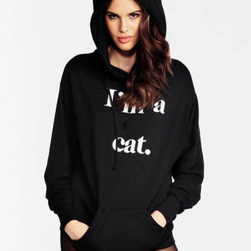Black Letter Printed Cat Ears Hooded Long-Sleeved Clothes