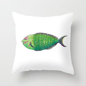 One Fish Throw Pillow by Catherine Holcombe | Society6