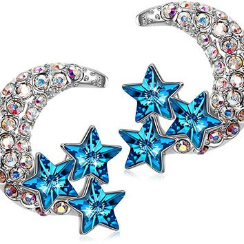 "Earrings Gifts""Moon and Star"" Earrings for Sensitive Ears, Crystals from Earrings for Women with Gift Box, Soft, Cloth"