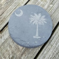 Laser Engraved Palmetto Tree Slate Coasters ~ Natural ~ Housewarming Gift ~ Home Decor ~ Gifts for Her ~ Gifts for Him ~ Gifts for Them
