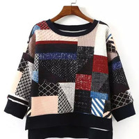 Multicolor Geometric Printed Dip Hem Sweatshirt