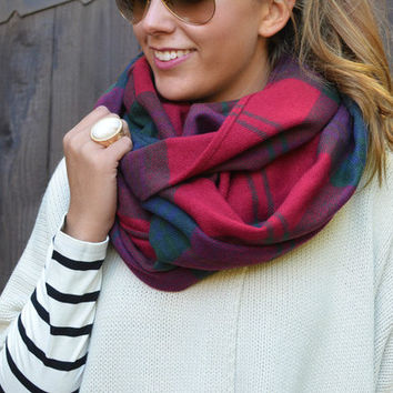 Bundled Up Cozy Red Plaid Infinity Scarf - Red