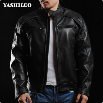 2017 European Classic Mens Motorcycle 100% Real Leather Jackets Biker Coats For Male Jaqueta Couro Masculina Motoqueiro Bomber