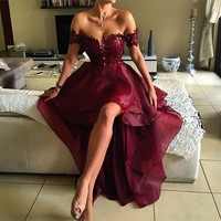 2017 Off the Shoulder Hi Low Burgundy Cocktail Dress Party Dress Short Prom Dress Short Front Long Back with Lace