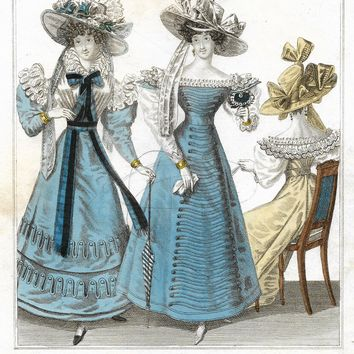 "Newest Fashions for July 1827 - 1835 - ""EVENING DRESS"" - Hand Colored Engraving"