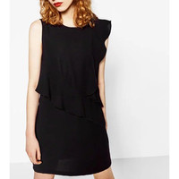 Asymmetrical Lotus Leaf Sleeveless Black Dress