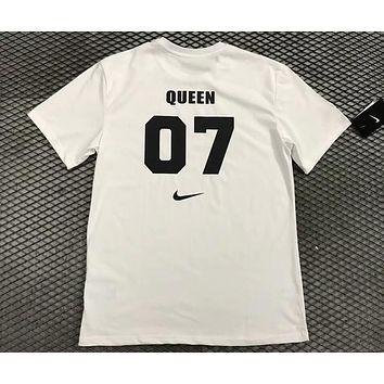 NIKE couple models 07 back lucky number classic black white short sleeve F-AA-XDD White