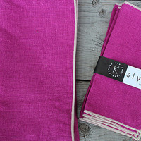 """Radiant Orchid Cocktail Napkins, Pink Linen Napkins, Hot Pink Napkins, Purple Napkins, Pink Cloth Napkins, Table Decor, Set of 4, 7"""" sq"""