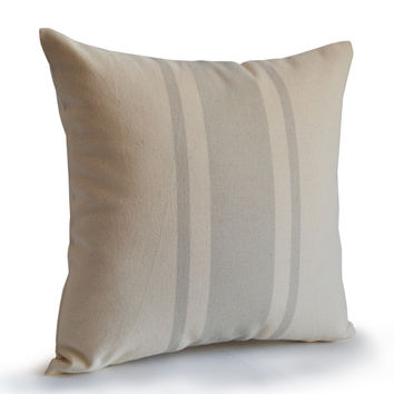 Premium French Grain Sack Stripes On Organic Cotton Patterned Pillow Case Neutral Hue Pillow Decorator's Toss Pillow