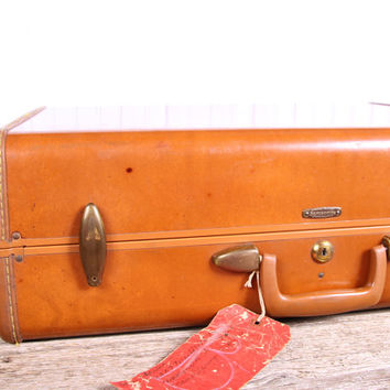 Antique Leather Suitcase / Suitcases Luggage / Samsonite Luggage Style 4637 / Old Leather Suitcase / Vintage Luggage / Luggage Bag