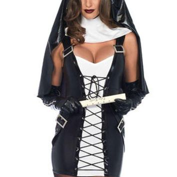 ONETOW 3PC.Naughty Nun,lace up dress,collar neck piece,habit in BLACK/WHITE