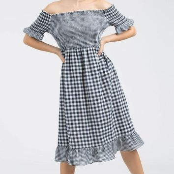 Off Shoulder Gingham Checkered Dress