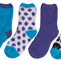 4-Pack Microfiber Fuzzy Printed Cozy Girls Socks SOLD OUT