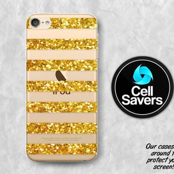 Gold Stripes Clear iPod 5 Case iPod 6 Case iPod 5th Generation iPod 6th Generation Rubber Case Gen Clear Case Gold Sparkle Glitter Pattern