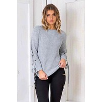 V-neck Pure Color Loose Long Sleeves Regular Sweater