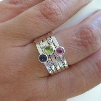 mothers stacking rings  sterling silver with by bddesigns on Etsy